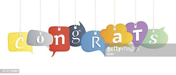 ilustraciones, imágenes clip art, dibujos animados e iconos de stock de ¡enhorabuena! - felicitar