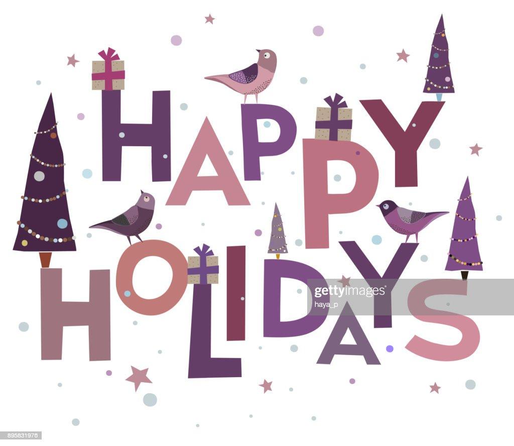 congratulation background of words cardinal bird happy holidays text
