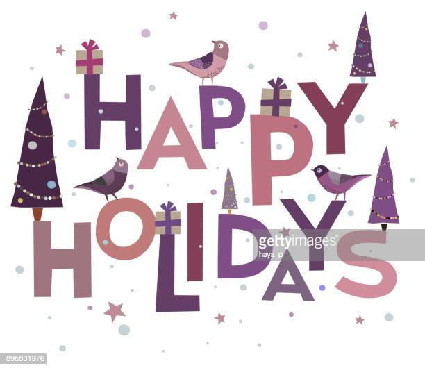 congratulation, background of words, cardinal bird,  happy holidays - text, handmade font, xmas  and  merry christmas- holiday greetings with  decoration - happy holidays stock illustrations, clip art, cartoons, & icons