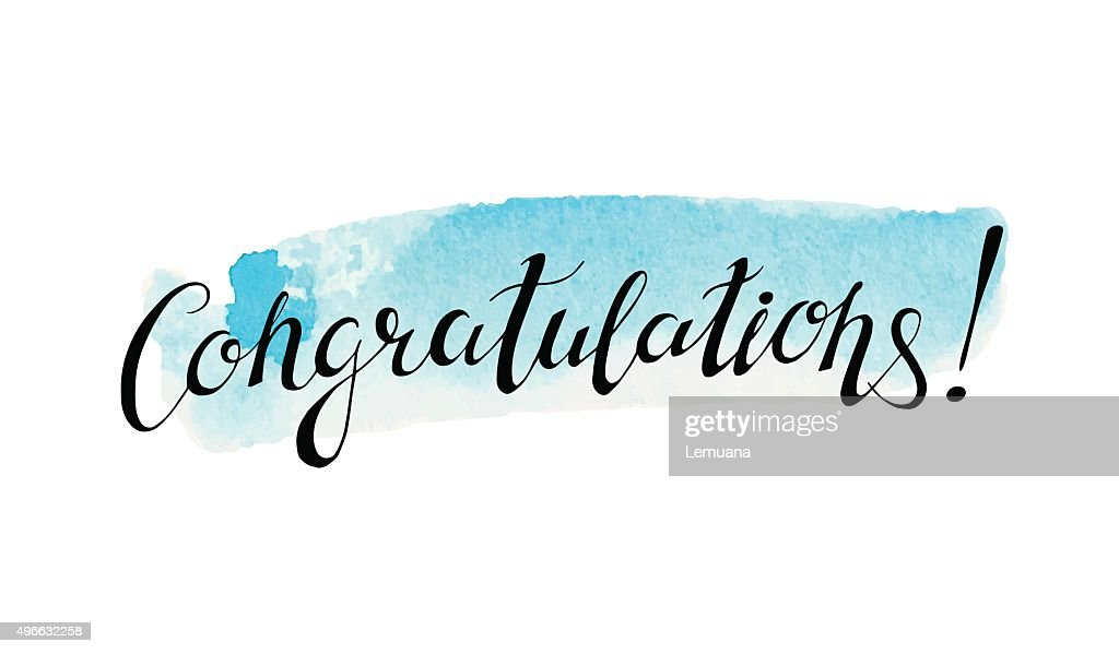 Congratulation banner with abstract watercolor stain