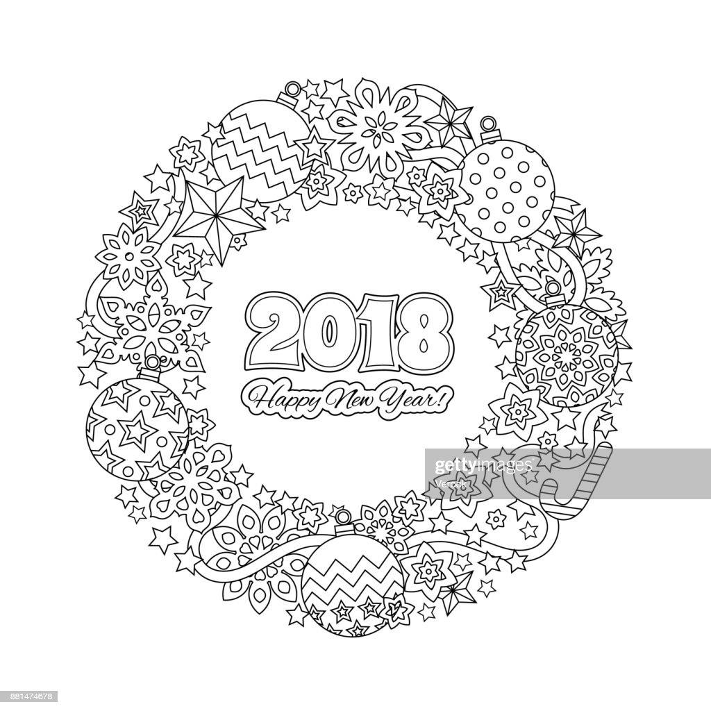 Felicitatie Kaart Happy New Year 2018 Krans Bestaande Uit Kerstmis