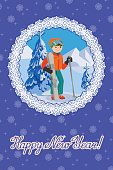 Congratulation card new year with man on the mountain by
