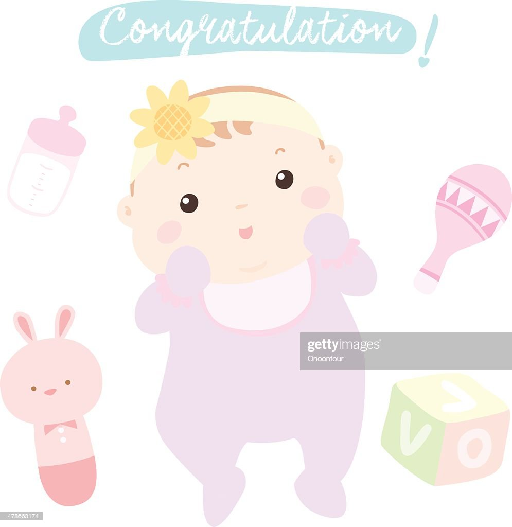 congratulation new little baby girl vector