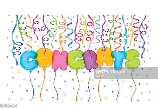 congratulations achievement celebration balloon confetti ribbon - congratulating stock illustrations, clip art, cartoons, & icons