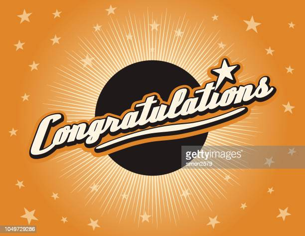 congratulations and color starburst background - congratulating stock illustrations