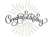 Congratulations calligraphy vector Hand written text. Lettering. Calligraphic banner
