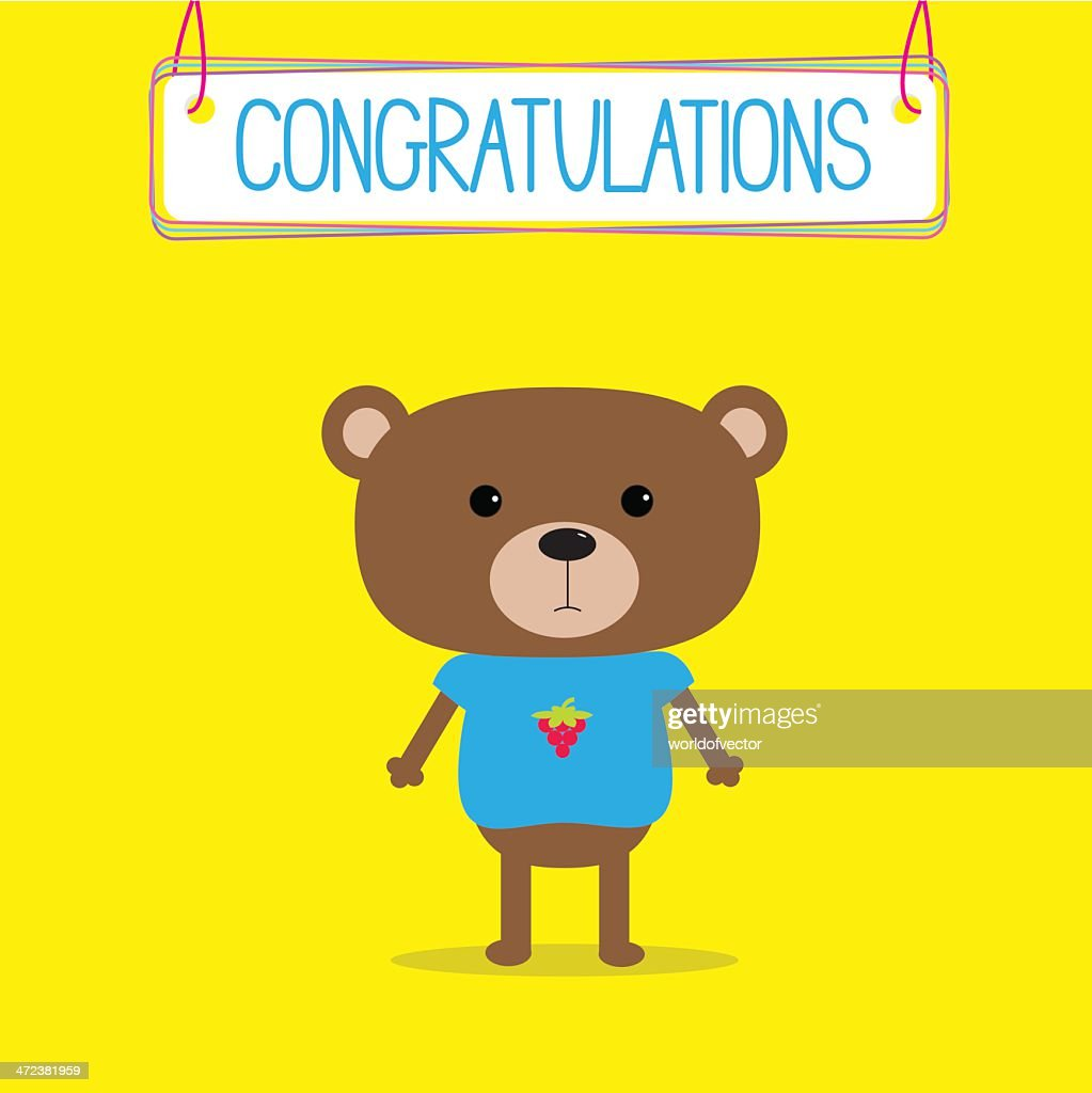 Congratulations card with cute bear