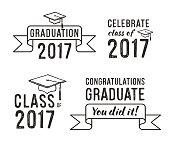 Congratulations graduate 2017, Graduation Vector Set