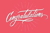 Congratulations. Hand lettering. Calligraphic greeting inscription.