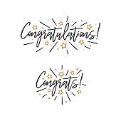 Congratulations. Hand lettering. Vector handwritten typography.