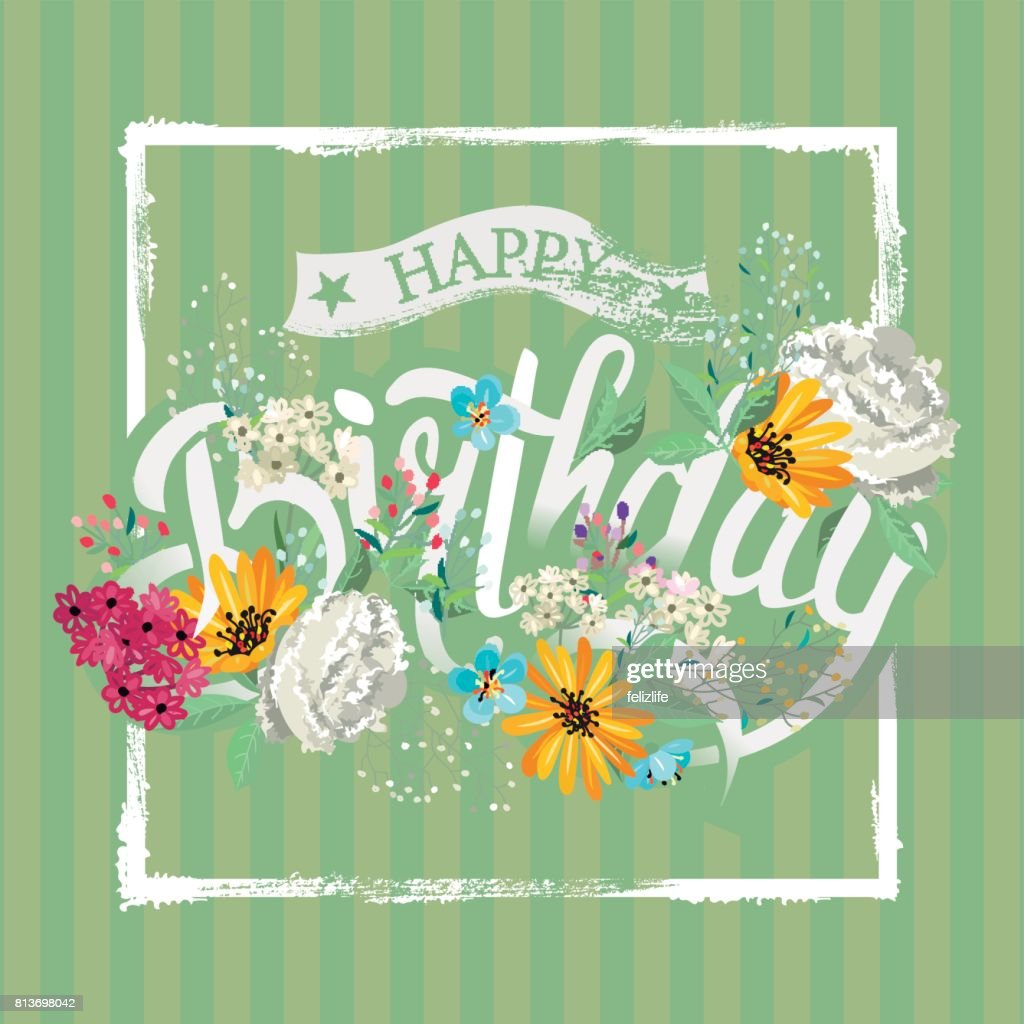Congratulations happy birthday with flowers vector art getty images congratulations happy birthday with flowers vector art izmirmasajfo Image collections