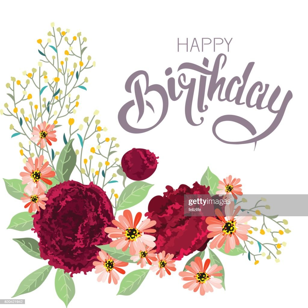 Congratulations happy birthday with flowers vector art getty images congratulations happy birthday with flowers vector art izmirmasajfo