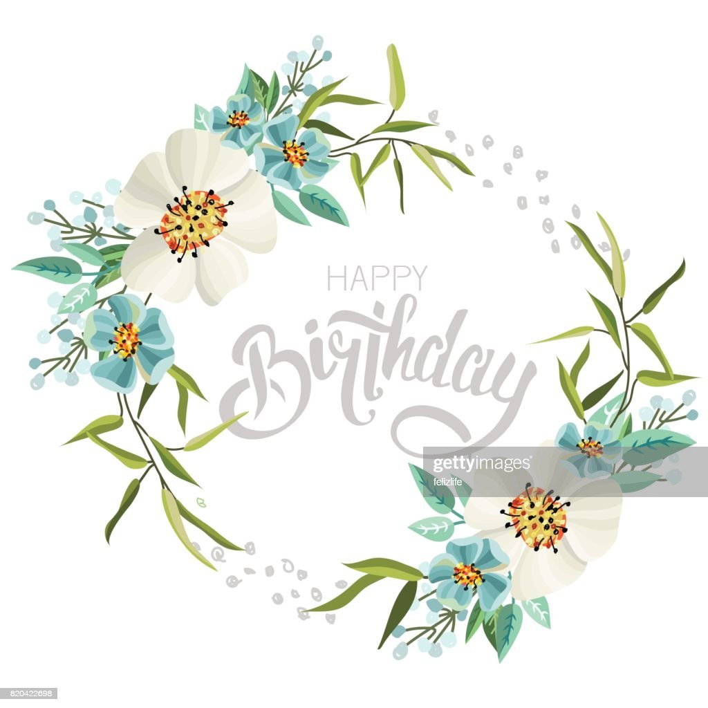 Congratulations Happy Birthday With Flowers Stock Vector