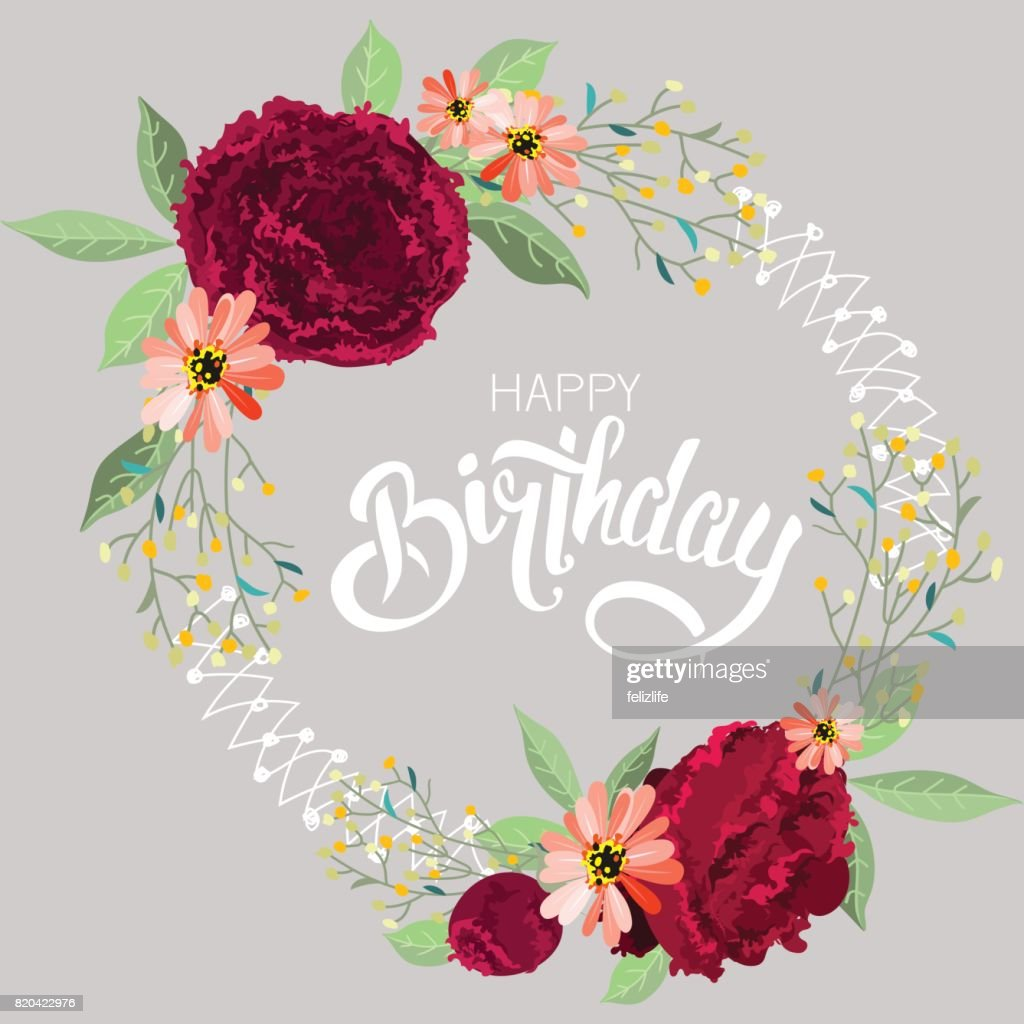Congratulations happy birthday with flowers vector art getty images congratulations happy birthday with flowers izmirmasajfo Image collections