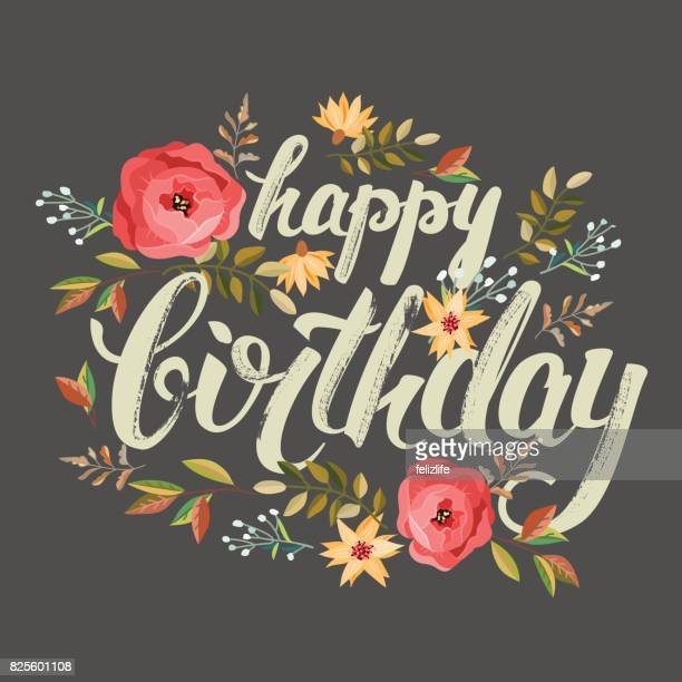 "congratulations ""happy birthday"" with flowers - birthday stock illustrations"