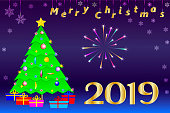 Congratulations on Christmas 2019. Christmas tree with a golden five-pointed star, gifts and the Fireworks. Designed for greeting cards, banners, calendar covers.