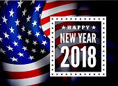 Congratulations on the new 2018 against the background of the United States flag. Vector