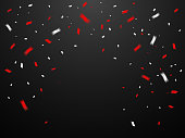 Congratulations With Many Falling Red Tiny Confetti. Vector Illustration