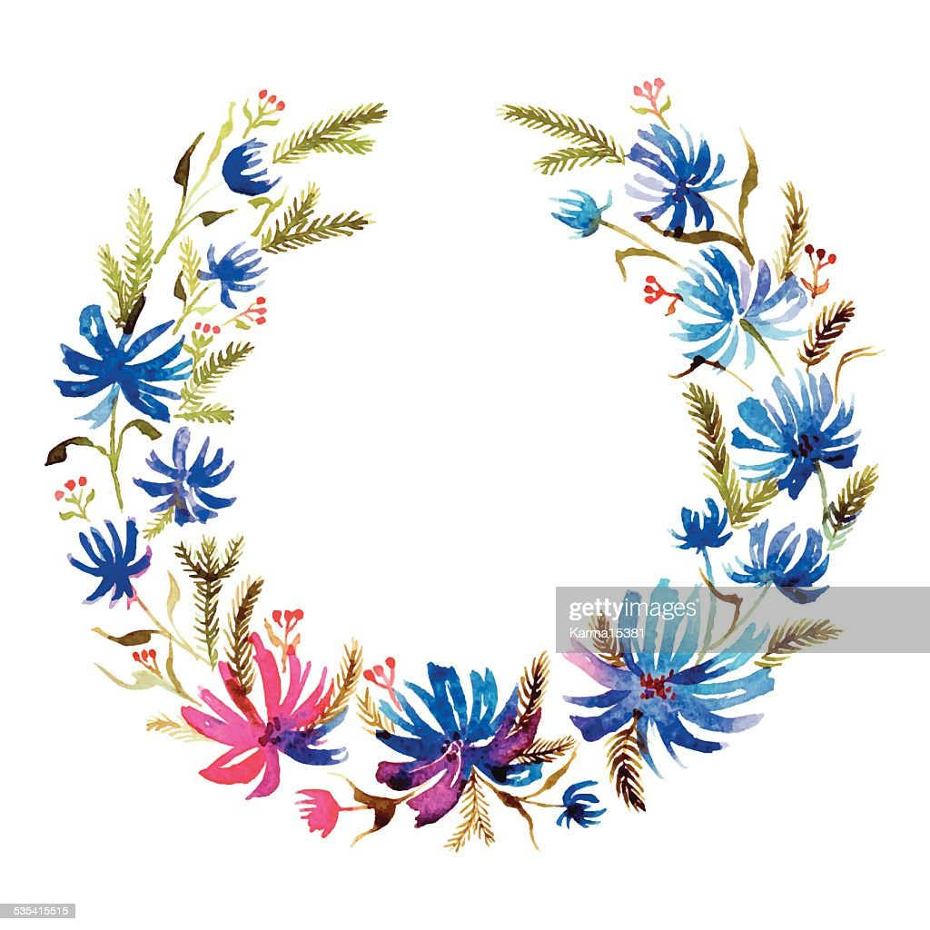 Congratulatory wreath of blue flowers vector art getty images congratulatory wreath of blue flowers vector art izmirmasajfo