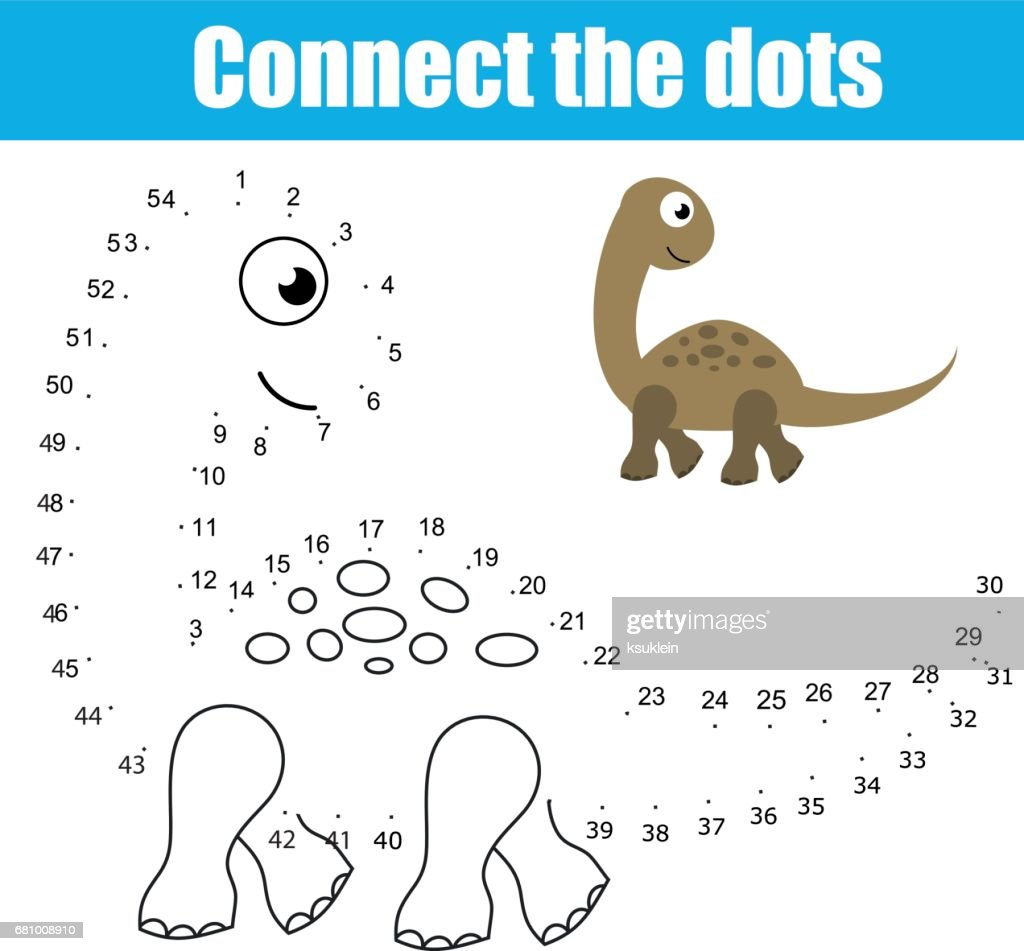 Connect the dots by numbers children educational game. Printable worksheet activity. Animals theme, dinosaur