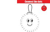 Connect the dots numbers children educational game. Printable worksheet activity