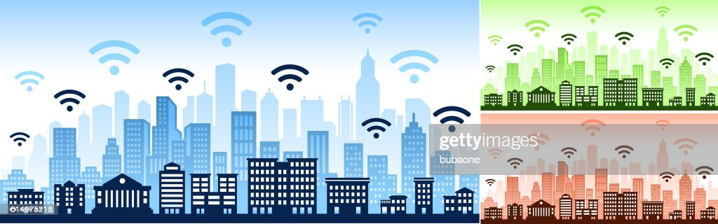 Connected City skyline panoramic Horizontal Background