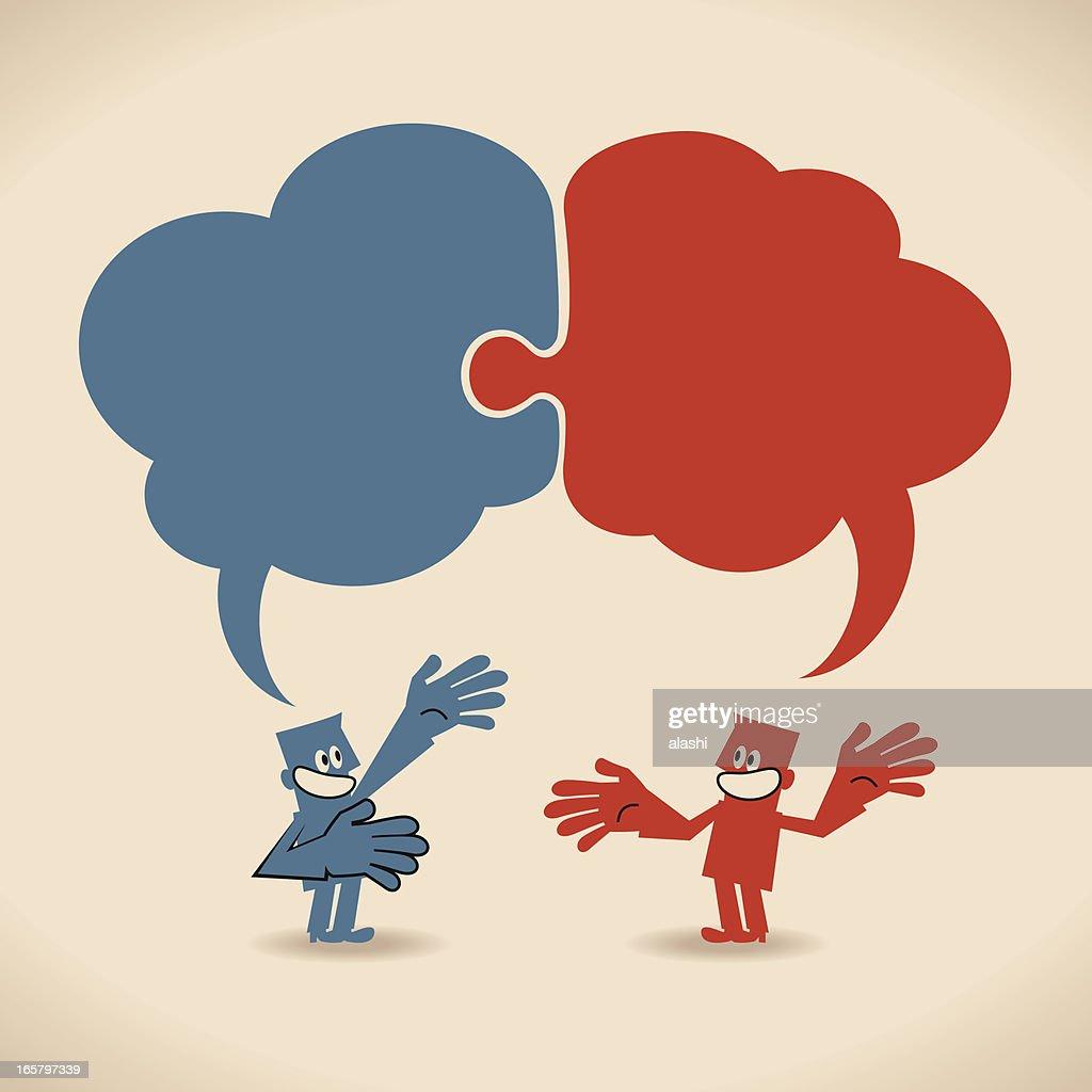 Conectado rompecabezas discurso burbujas anteriormente hablando sonriendo las personas de negocios : Ilustración de stock