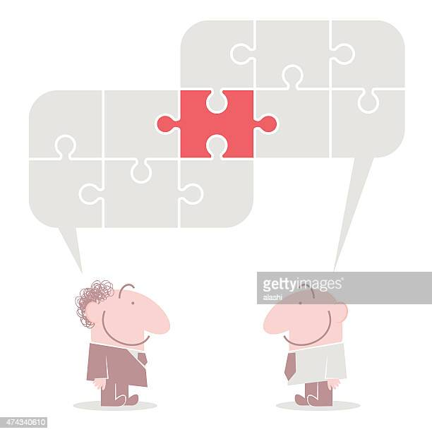Connected jigsaw puzzle speech bubbles above talking smiling business people