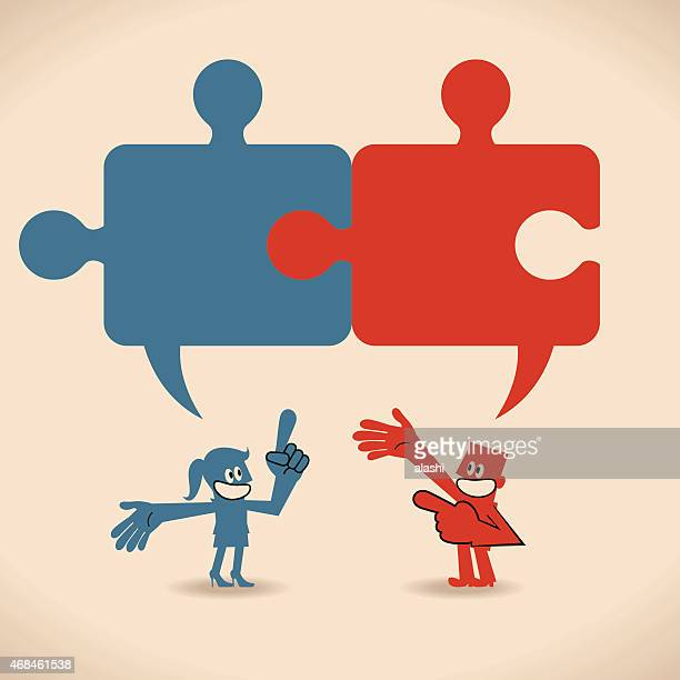 Connected jigsaw puzzle speech bubbles above talking smiling man woman