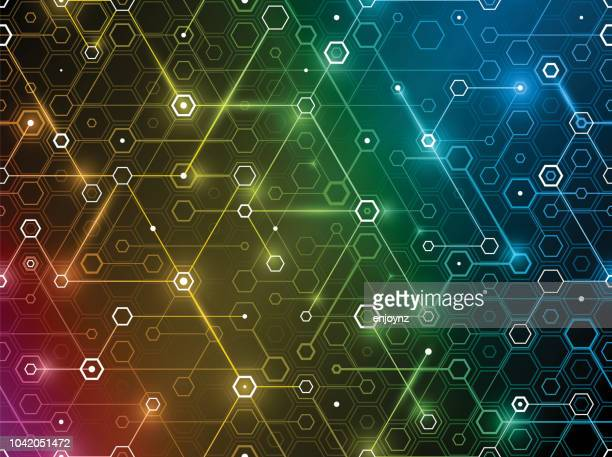 connected network background - colors of rainbow in order stock illustrations