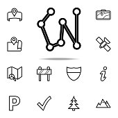 connected points by a line icon. Navigation icons universal set for web and mobile