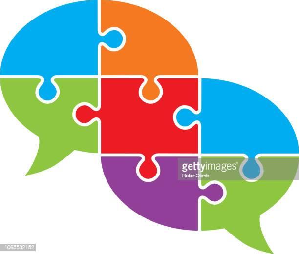 angeschlossenen puzzle sprechblase - sprechblase für internetchat stock-grafiken, -clipart, -cartoons und -symbole