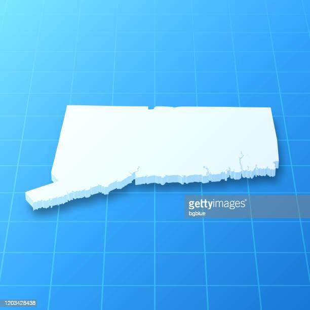 青い背景にコネチカット州の3dマップ - コネチカット州ハートフォード点のイラスト素材/クリップアート素材/マンガ素材/アイコン素材
