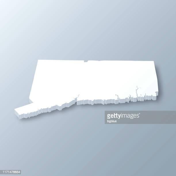 灰色の背景にコネチカット州の3dマップ - コネチカット州ハートフォード点のイラスト素材/クリップアート素材/マンガ素材/アイコン素材