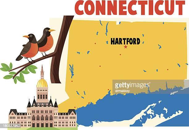 connecticut and hartford - hartford connecticut stock illustrations, clip art, cartoons, & icons