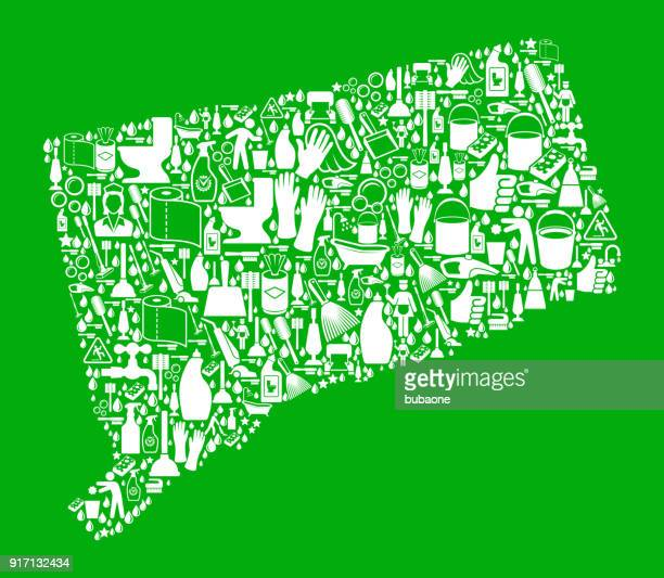 connecticut cleaning and chores green vector icon pattern - toilet brush stock illustrations, clip art, cartoons, & icons