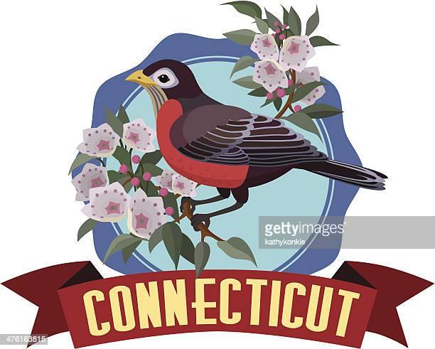 ilustrações, clipart, desenhos animados e ícones de connecticut viagens ou adesivo etiqueta de bagagem - mel do louro da montanha