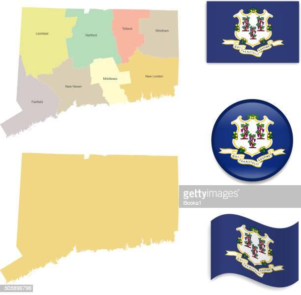 コネチカット州マップと旗のコレクション - コネチカット州点のイラスト素材/クリップアート素材/マンガ素材/アイコン素材