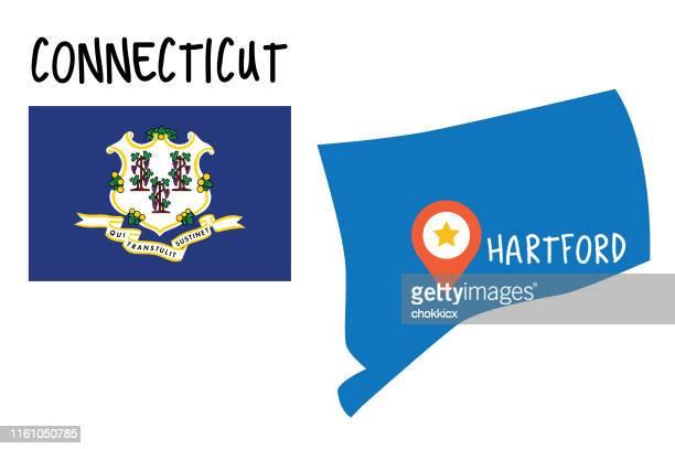 コネチカット州の地図と旗 - コネチカット州ハートフォード点のイラスト素材/クリップアート素材/マンガ素材/アイコン素材