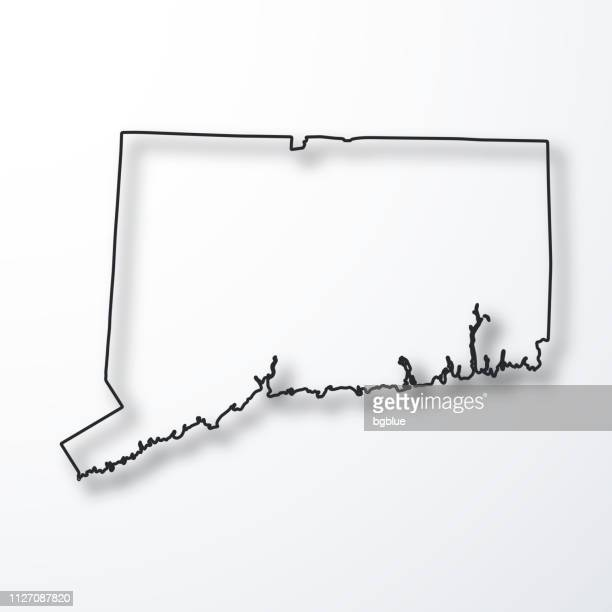 connecticut map - black outline with shadow on white background - hartford connecticut stock illustrations, clip art, cartoons, & icons