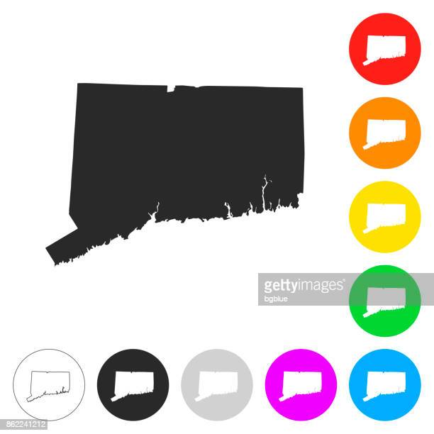 Connecticut map - Flat icons on different color buttons