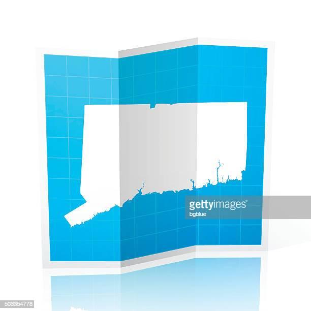 Connecticut Map folded, isolated on white Background