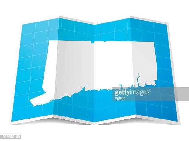 コネチカット州マップ折り返し、白背景 - コネチカット州ハートフォード点のイラスト素材/クリップアート素材/マンガ素材/アイコン素材