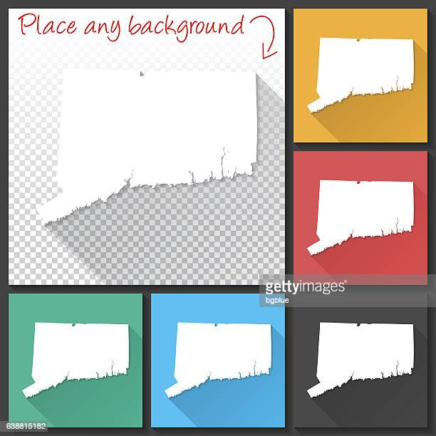 connecticut map for design, long shadow, flat design - hartford connecticut stock illustrations, clip art, cartoons, & icons