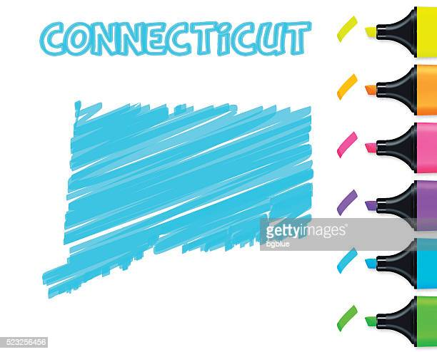 Connecticut map hand drawn on white background, blue highlighter
