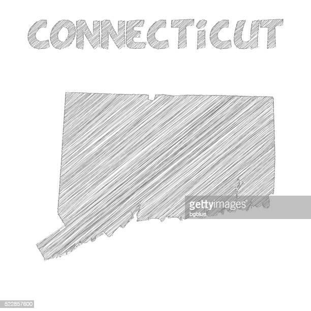 connecticut map hand drawn on white background - hartford connecticut stock illustrations, clip art, cartoons, & icons