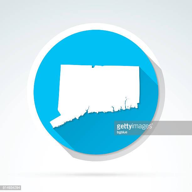 Connecticut map icon, Flat Design, Long Shadow
