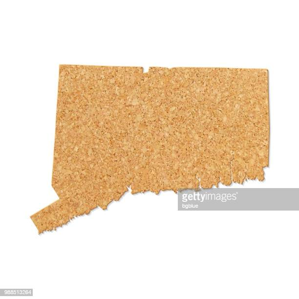 connecticut map in cork board texture on white background - hartford connecticut stock illustrations, clip art, cartoons, & icons
