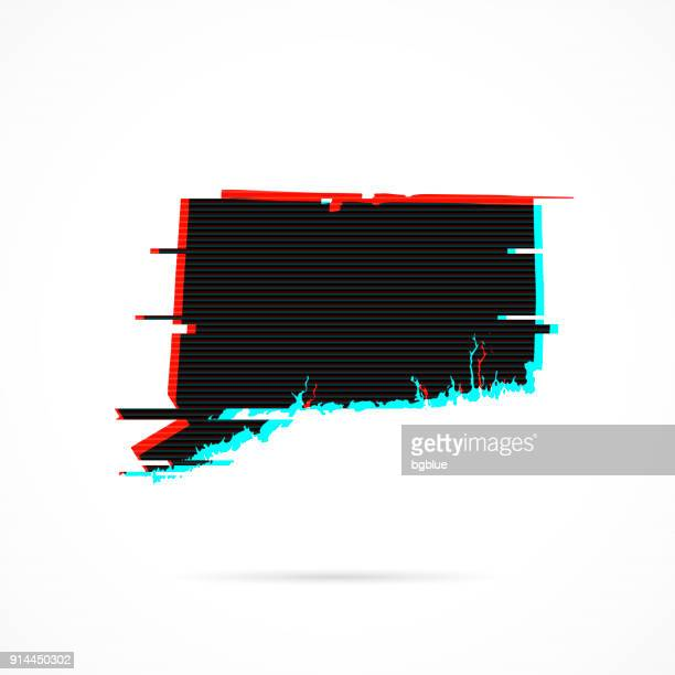 Connecticut map in distorted glitch style. Modern trendy effect