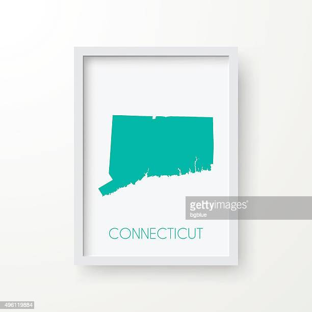 connecticut map in frame on white background - hartford connecticut stock illustrations, clip art, cartoons, & icons